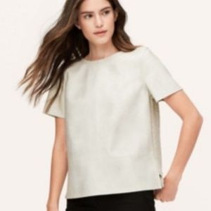 Loft faux leather t-shirt boxy vegan tweed back M